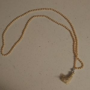 NWOT Beige beaded tassel Necklace